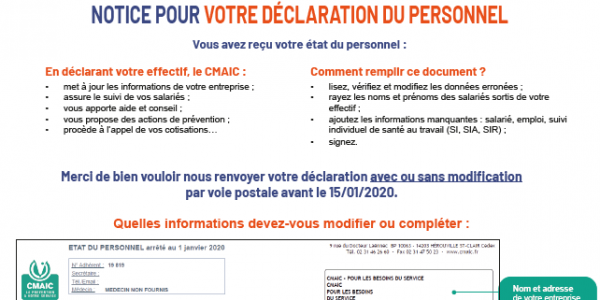 Notice : déclaration du personnel - CMAIC